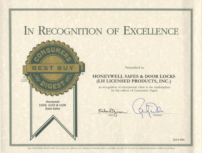 Honeywell 1106 Safe - Consumers Digest Best But Certificate
