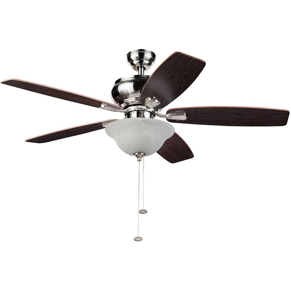 Honeywell Elston Ceiling Fan With LED Lights Satin Nickel