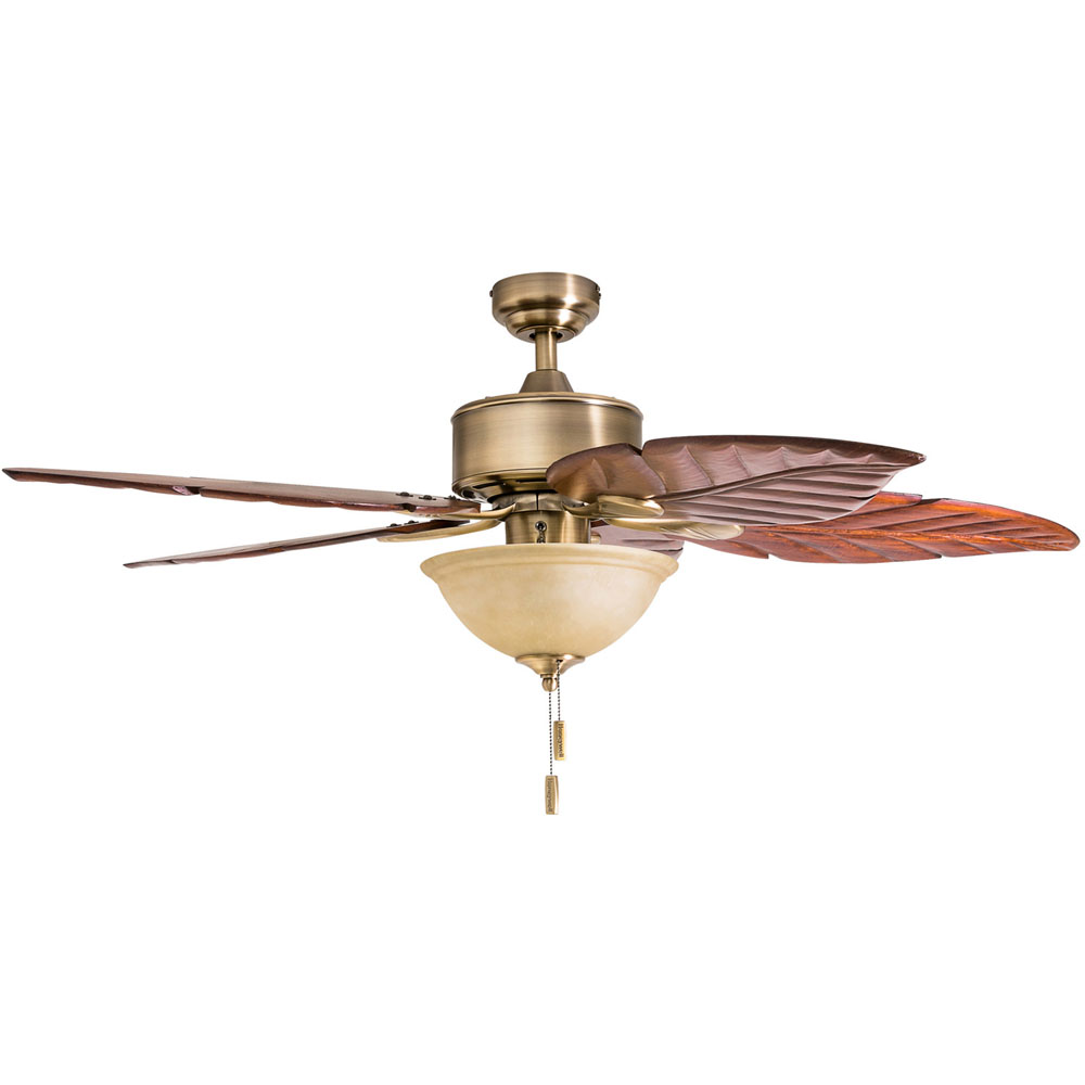 Honeywell Sabal Palm 52-Inch Tropical LED Ceiling Fan with Bowl Light, Hand Carved Blades - 50500-03