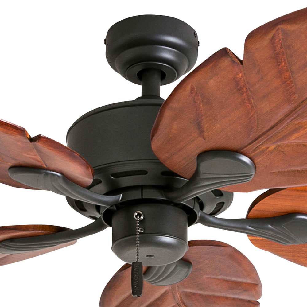 Honeywell Willow View 52-Inch Bronze Tropical Ceiling Fan, Hand Carved Blades - 50501-03