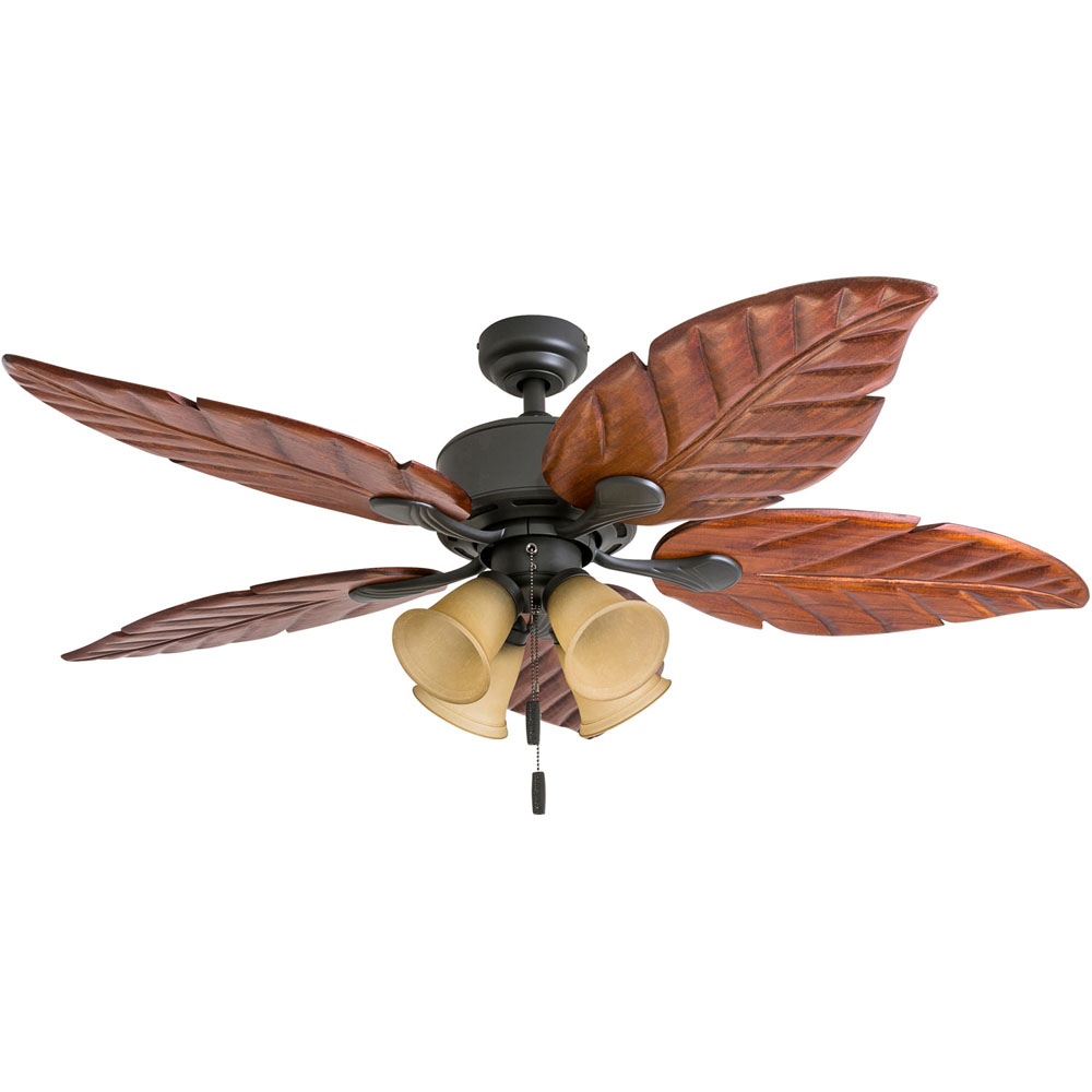 Honeywell Royal Palm 52-Inch Bronze Tropical LED Ceiling Fan with Light, Hand Carved Blades - 50503-03