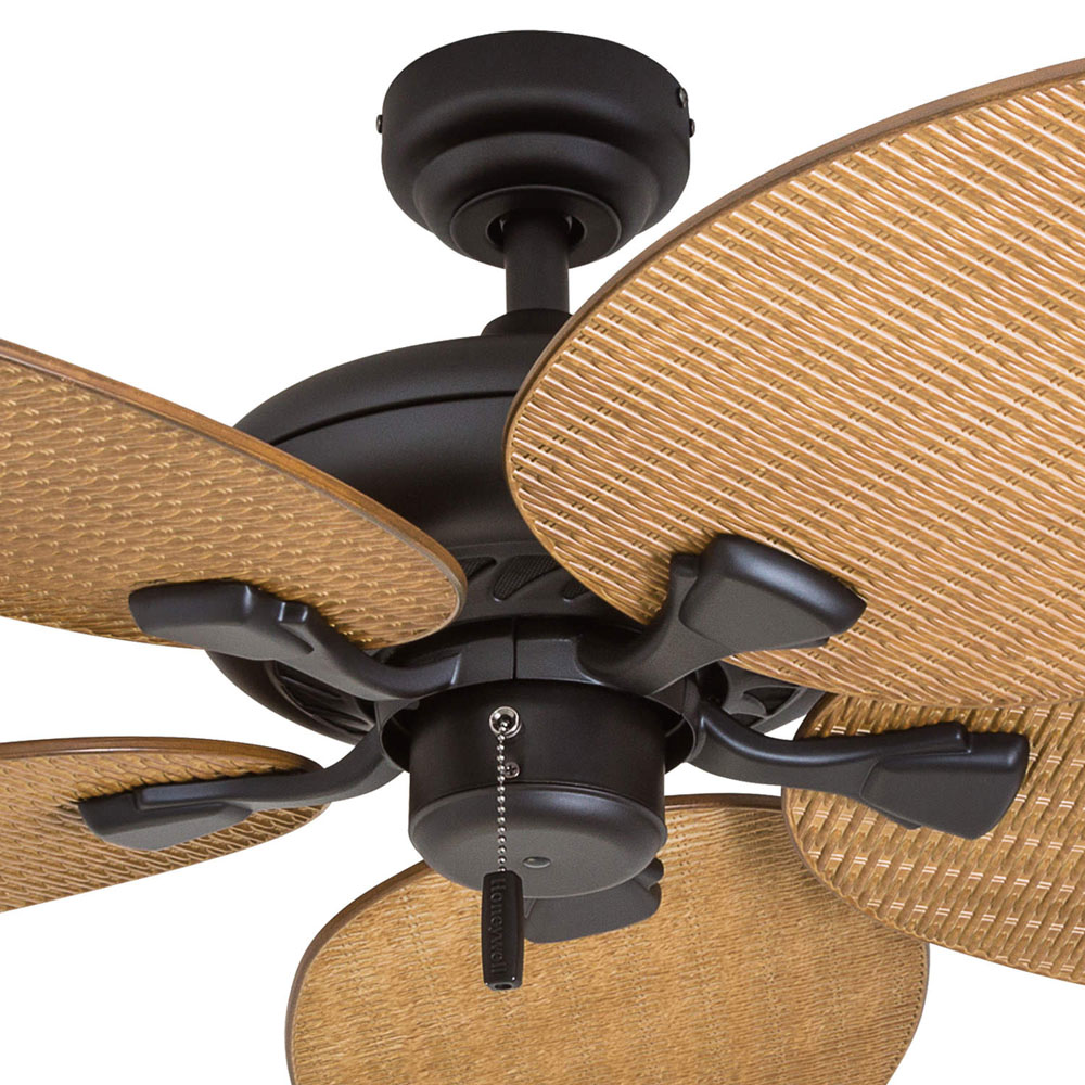 Honeywell Palm Valley 52-Inch Bronze Tropical Ceiling Fan with Palm Leaf Blades - 50505-03