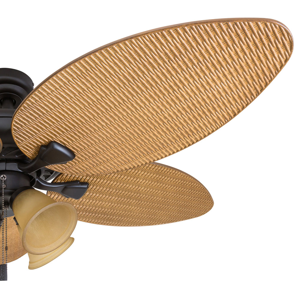 Honeywell Palm Valley 52-Inch Bronze Tropical LED Ceiling Fan with 4-Light, Palm Leaf Blades - 50506-03