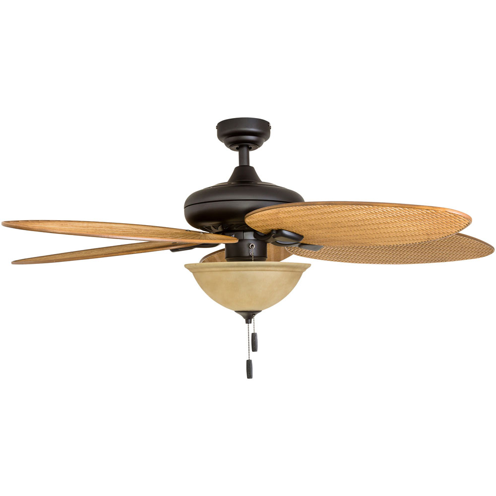 Honeywell Palm Valley 52-Inch Bronze Tropical LED Ceiling Fan with Bowl Light, Palm Leaf Blades - 50507-03