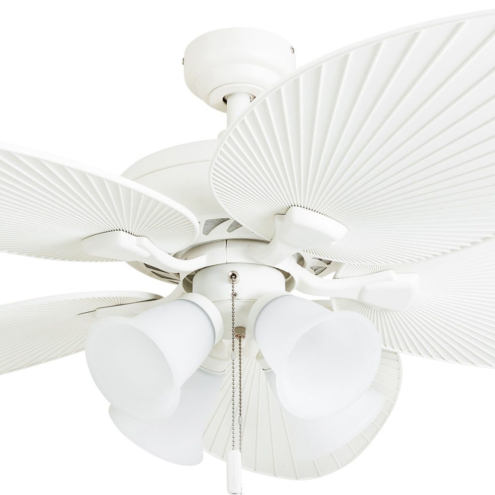 Honeywell Palm Lake 52-Inch White Tropical LED Ceiling Fan with Bowl Light, Palm Leaf Blades - 50509-03