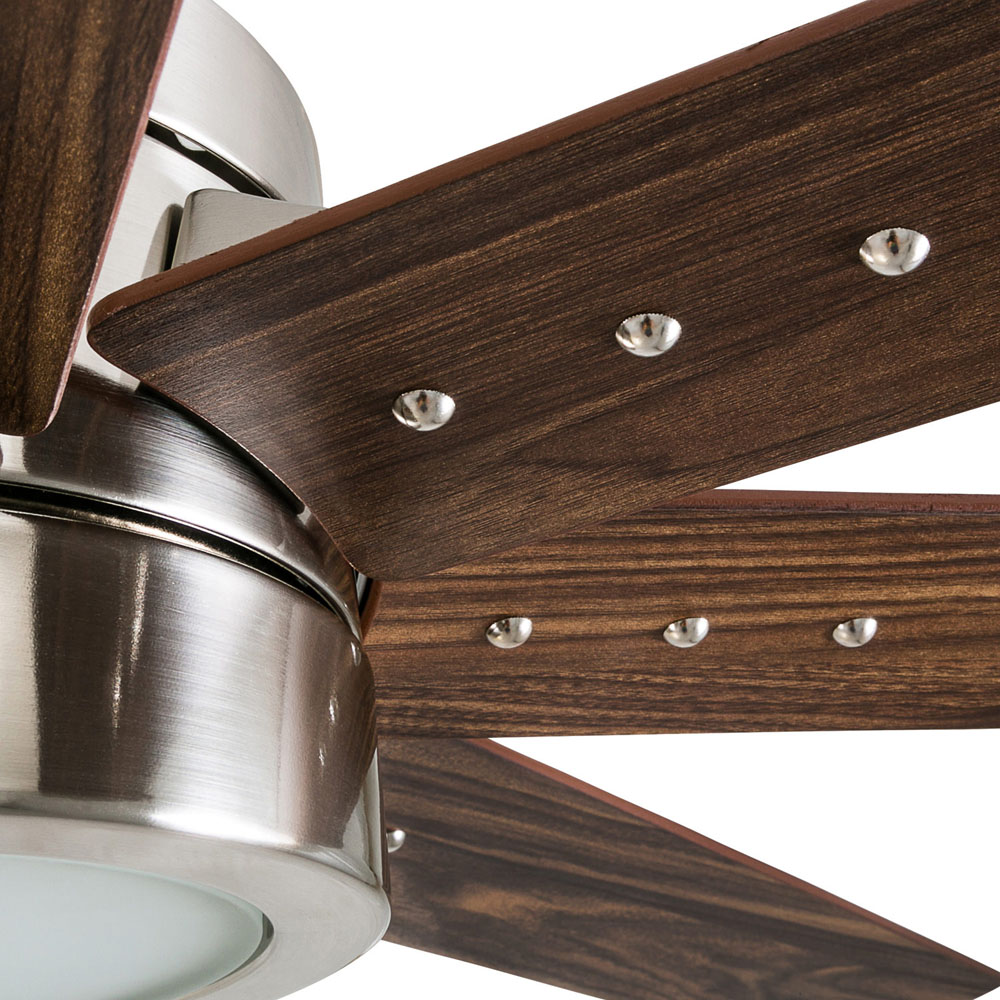 Honeywell Xerxes 62-Inch Brushed Nickel LED Remote Control Ceiling Fan, 8 Blade, Integrated Light - 50608-03