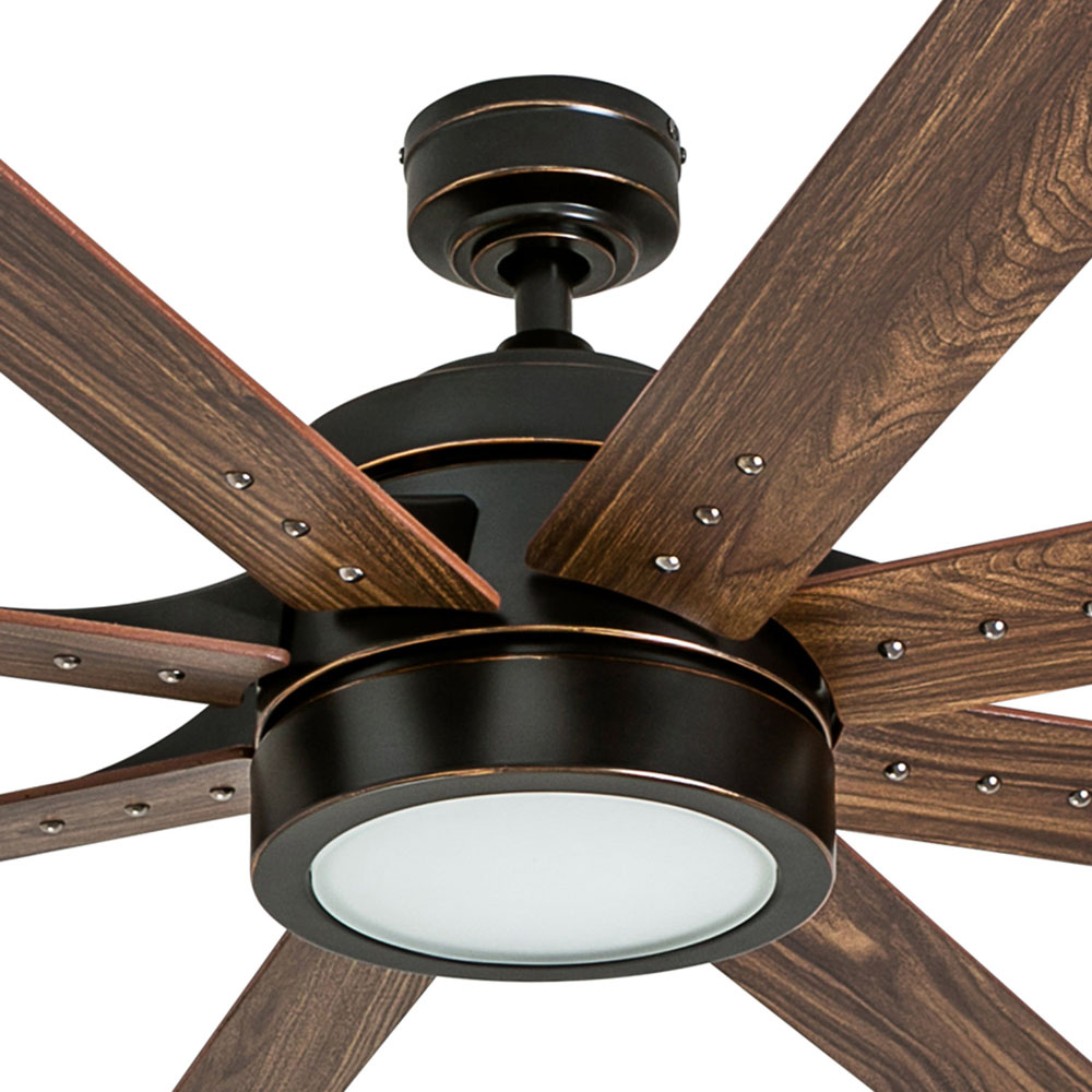 Honeywell Xerxes 62-Inch Oil Rubbed Bronze LED Remote Control Ceiling Fan, 8 Blade, Integrated Light - 50609-03