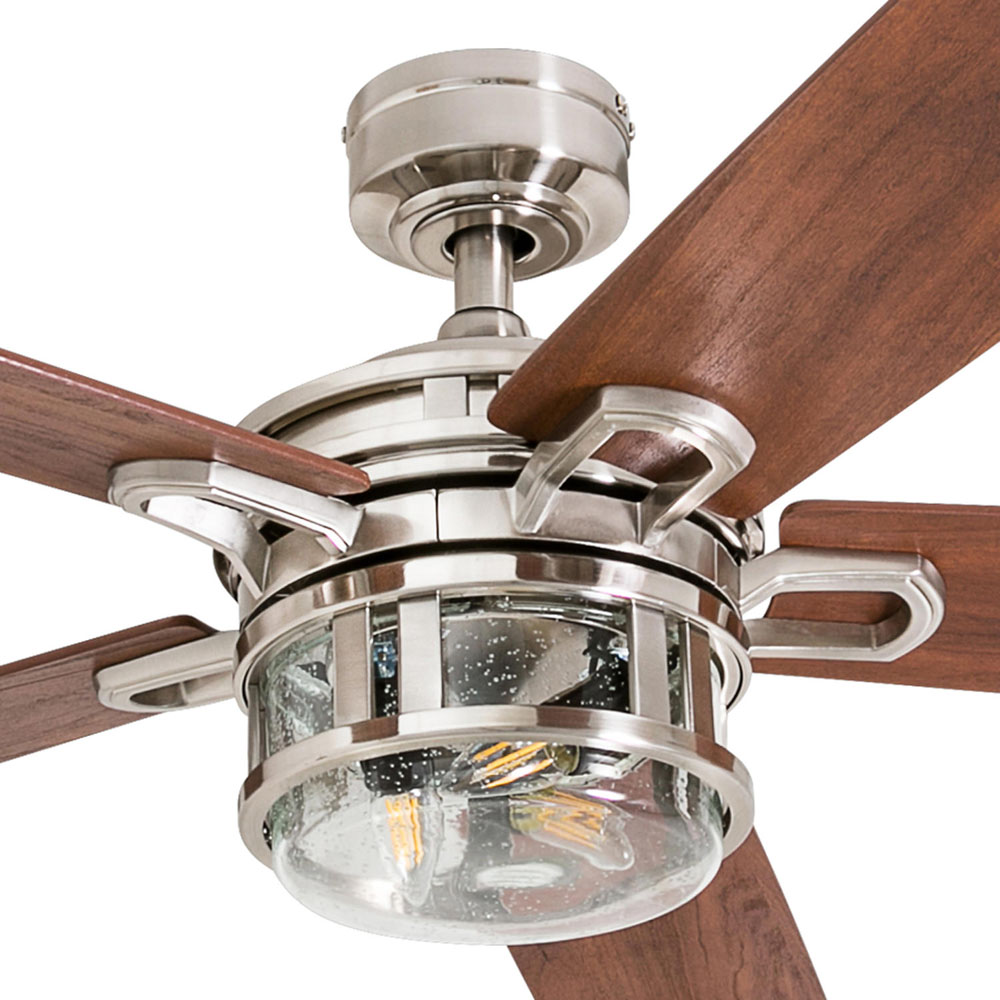 Honeywell Bontera 52-Inch Craftsman Brushed Nickel LED Remote Control Ceiling Fan - 50610-03