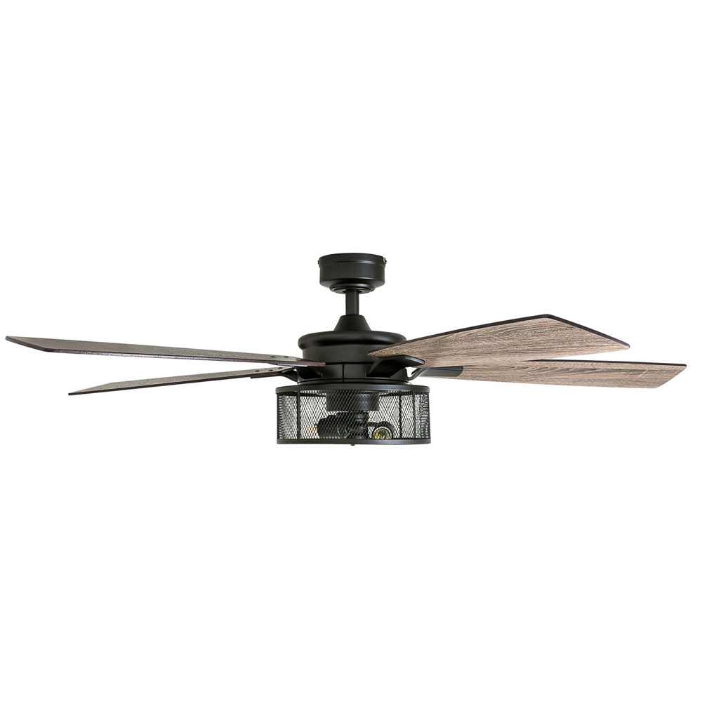Honeywell Carnegie 52-Inch Matte Black Industrial Farmhouse LED Ceiling Fan - 50614-03
