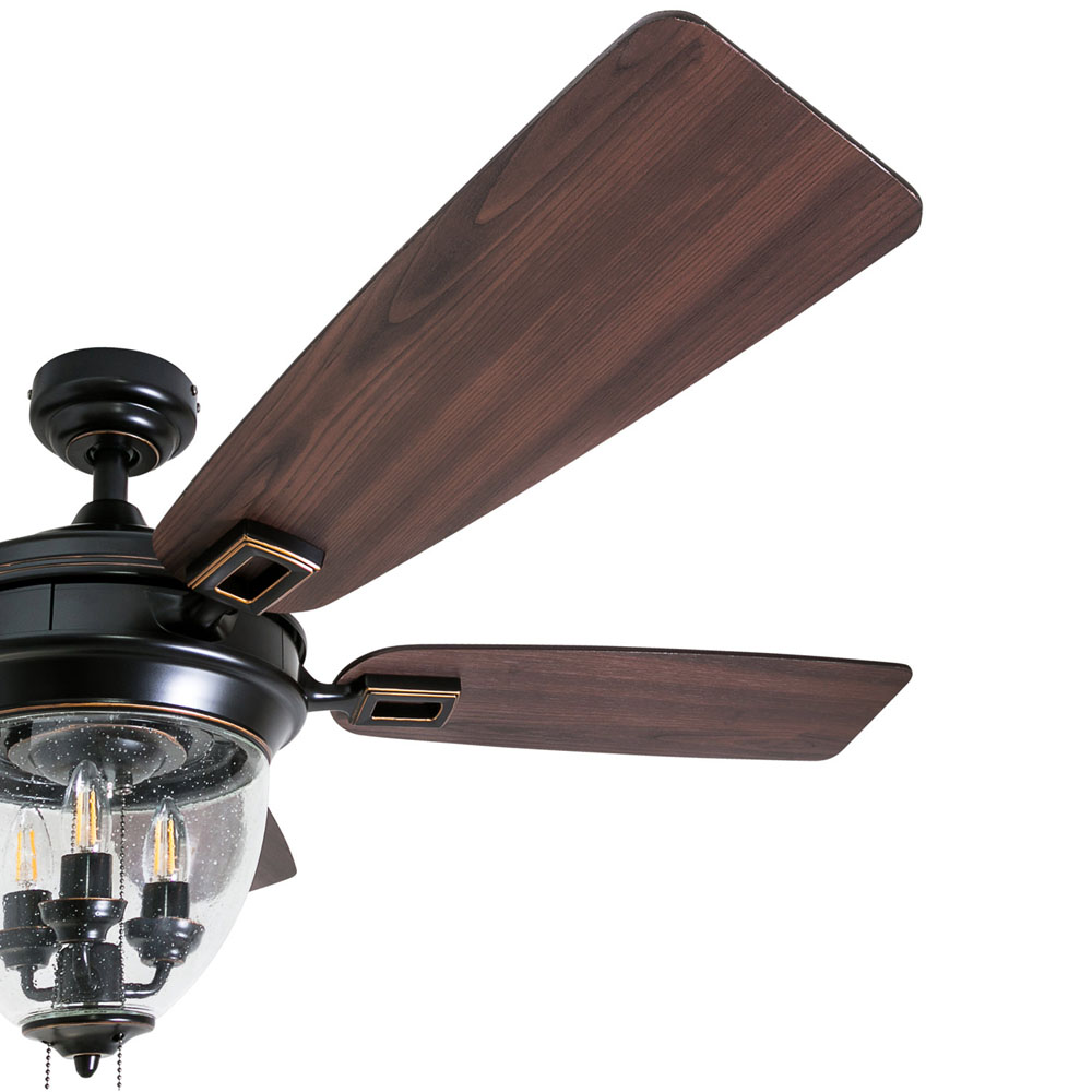 Honeywell Glencrest 52-Inch Oil Rubbed Bronze, Damp Rated Indoor/Outdoor LED Ceiling Fan - 50615-03