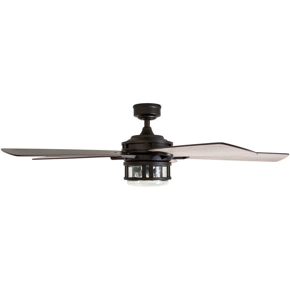 Honeywell Bontera 52-Inch Craftsman Matte Black LED Remote Control Ceiling Fan - 50690-03