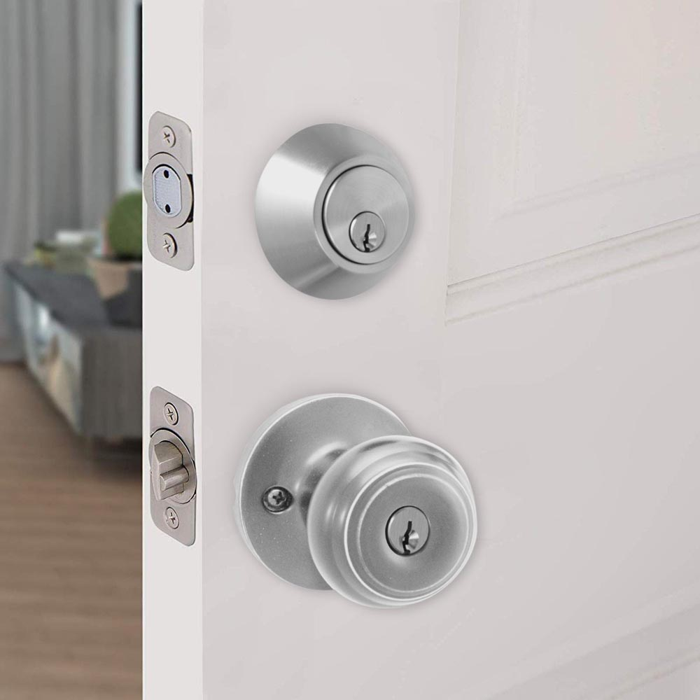 Honeywell Classic Door Knob Combo Set, Satin Nickel, 8101305