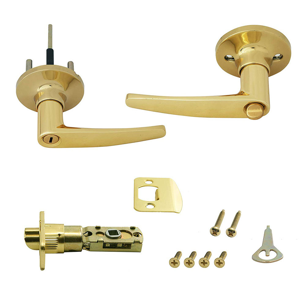 Honeywell Straight Privacy Door Lever, Polished Brass, 8104002