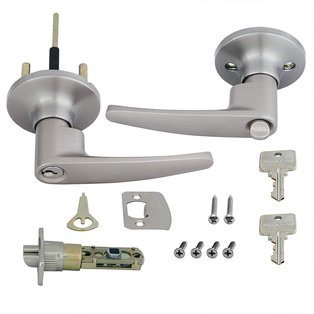 Honeywell Straight Entry Door Lever, Satin Nickel, 8104301