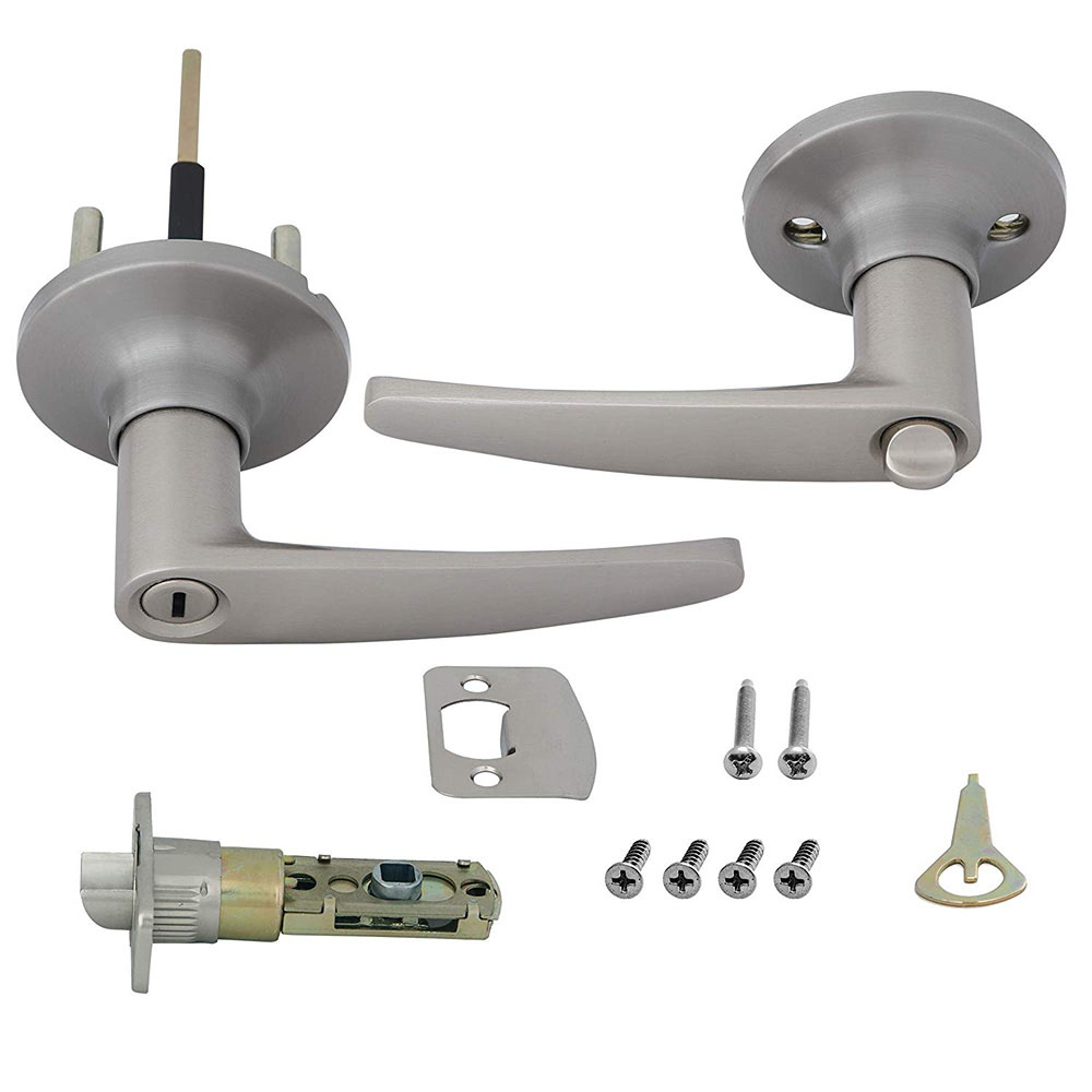 Honeywell Straight Privacy Door Lever, Satin Nickel, 8104302