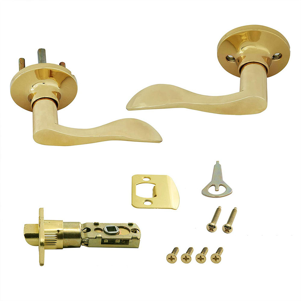 Honeywell Wave Passage Door Lever, Polished Brass, 8106003