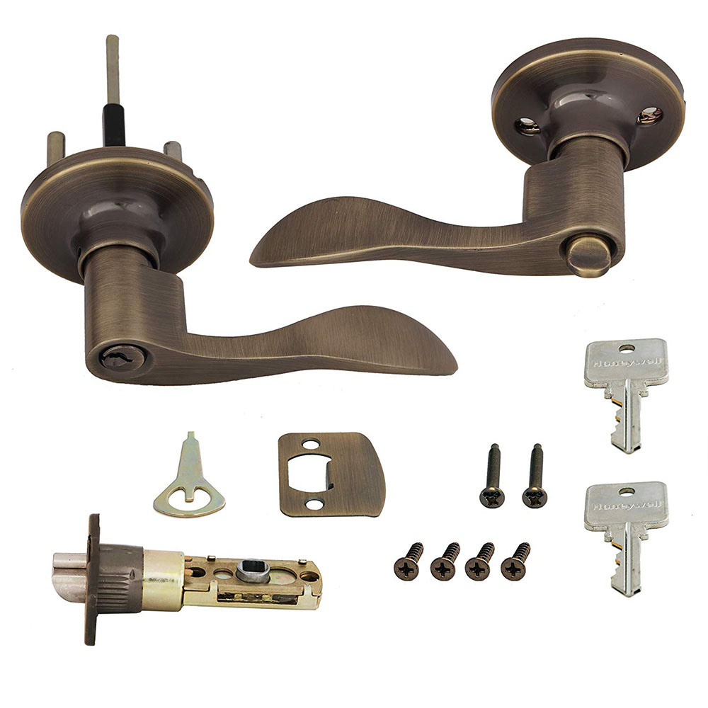 Honeywell Wave Entry Door Lever, Antique Brass, 8106101