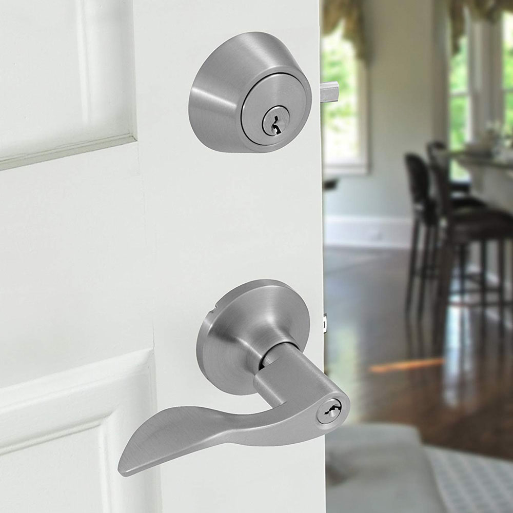 Honeywell Wave Door Lever Combo Set, Satin Nickel, 8106305