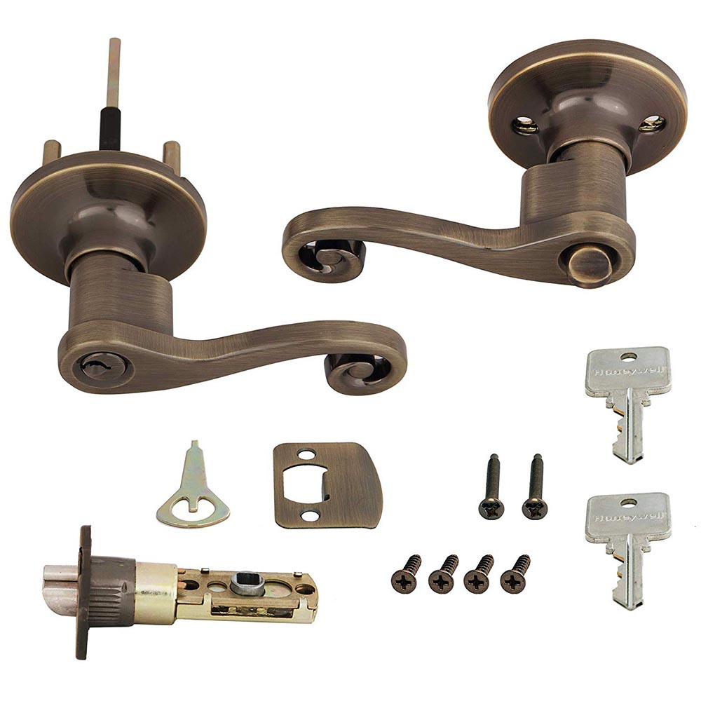 Honeywell Scroll Entry Door Lever, Antique Brass, 8108101