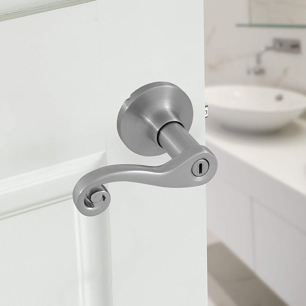 Honeywell Scroll Privacy Door Lever, Satin Nickel, 8108302