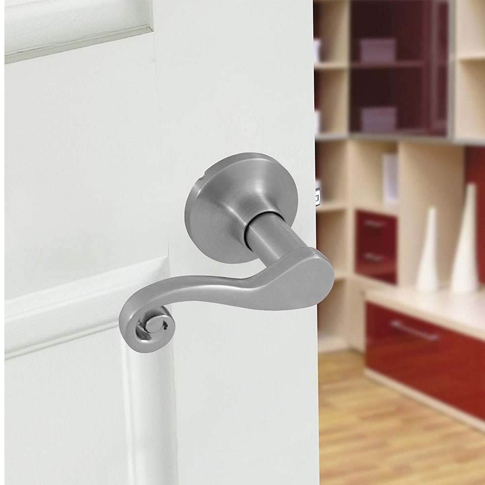 Honeywell Scroll Passage Door Lever, Satin Nickel, 8108303