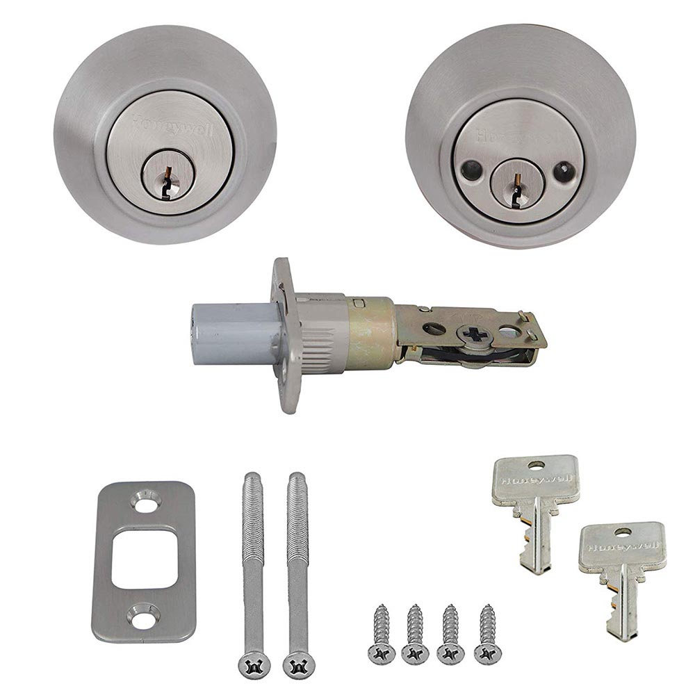 Honeywell Double Cylinder Deadbolt, Satin Nickel, 8112309