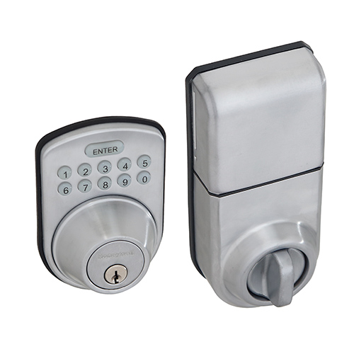 honeywell digital door lock and deadbolt in satin chrome