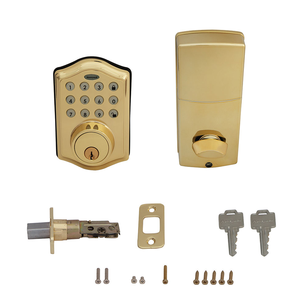 Honeywell Electronic Deadbolt Door Lock with Keypad in Pollished Brass, 8712009