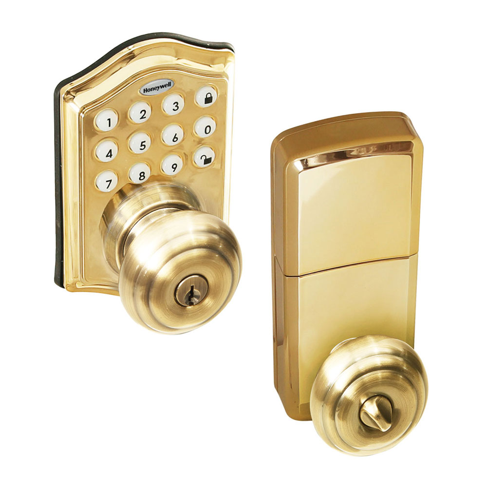 Honeywell Electronic Entry Knob Door Lock With Keypad In Polished Brass,  8732001