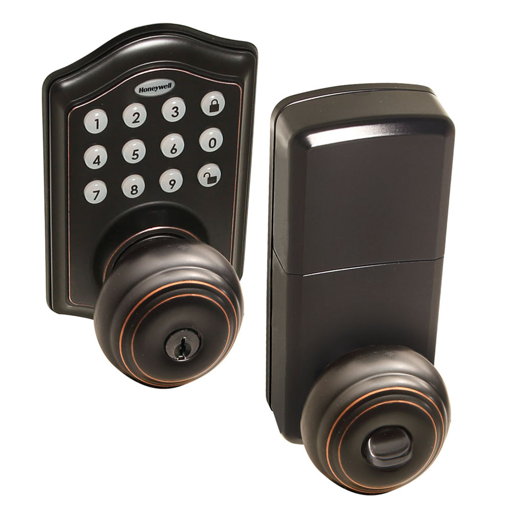 Honeywell 8732401 Electronic Entry Knob Door Lock With Keypad In Oil Rubbed Bronze Honeywell Store