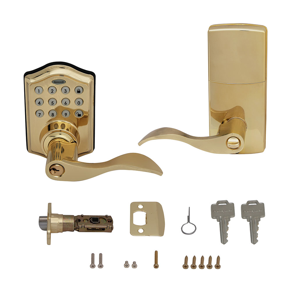 Honeywell Electronic Entry Lever Door Lock with Keypad in Polished Brass, 8734001
