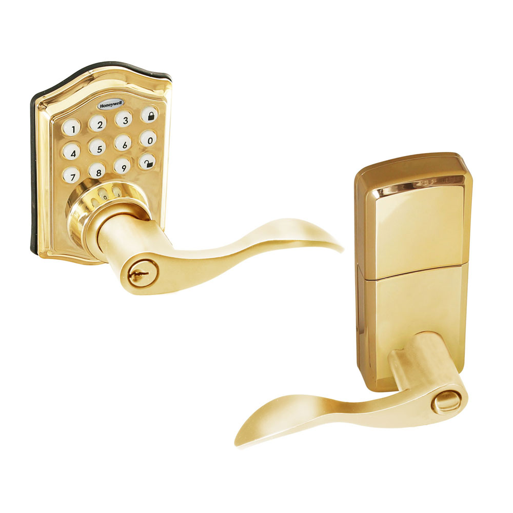 honeywell 8734001 electronic entry lever door lock with keypad in polished brass honeywell store. Black Bedroom Furniture Sets. Home Design Ideas
