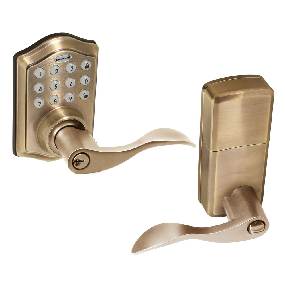 Honeywell Electronic Entry Lever Door Lock With Keypad In Antique Brass,  8734101