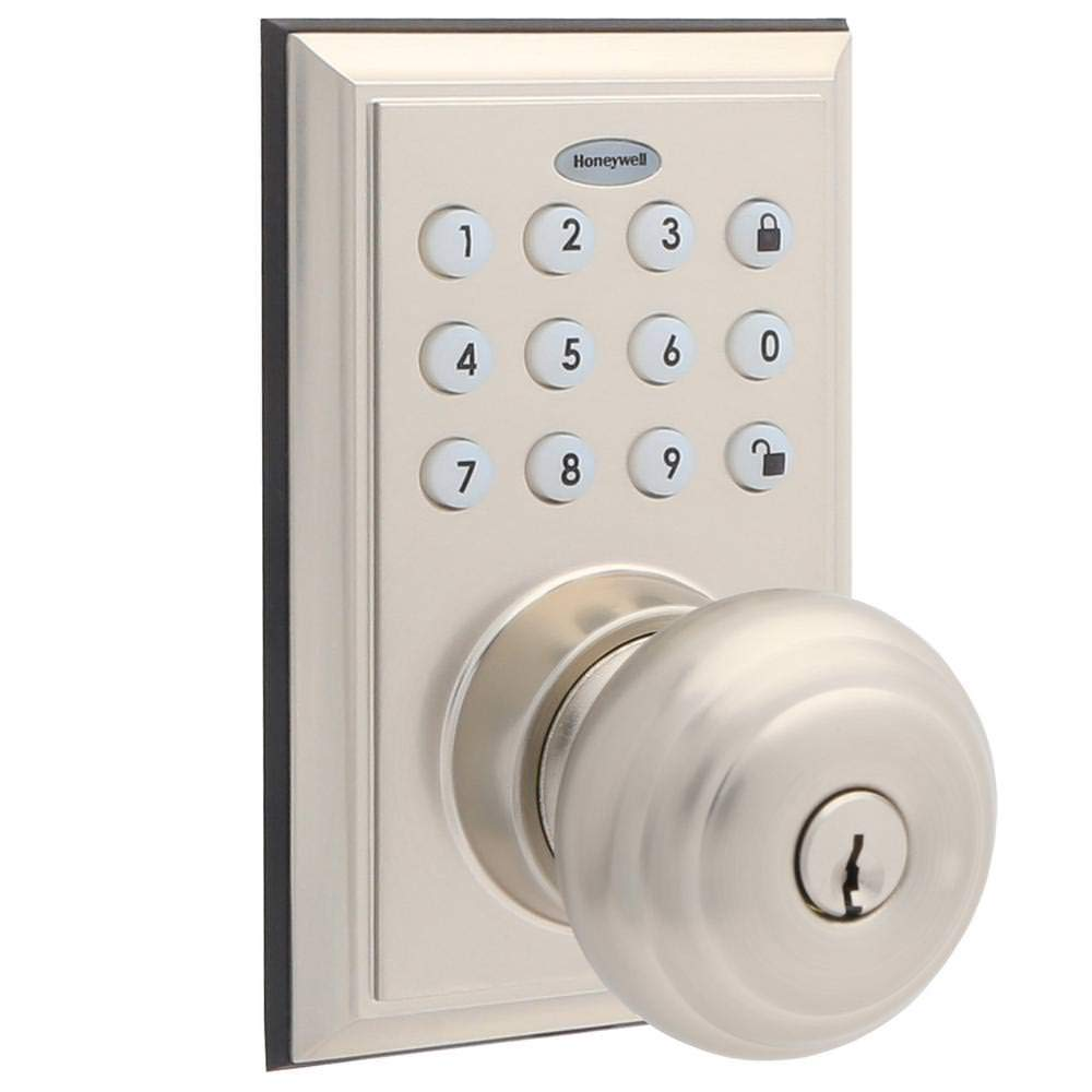 Front door knobs and locks Decorative Door Honeywell Bluetooth Enabled Digital Door Knob Lock With Keypad Satin Nickel Honeywell Store Honeywell Store Honeywell Bluetooth Enabled Digital Door Knob Lock With Keypad
