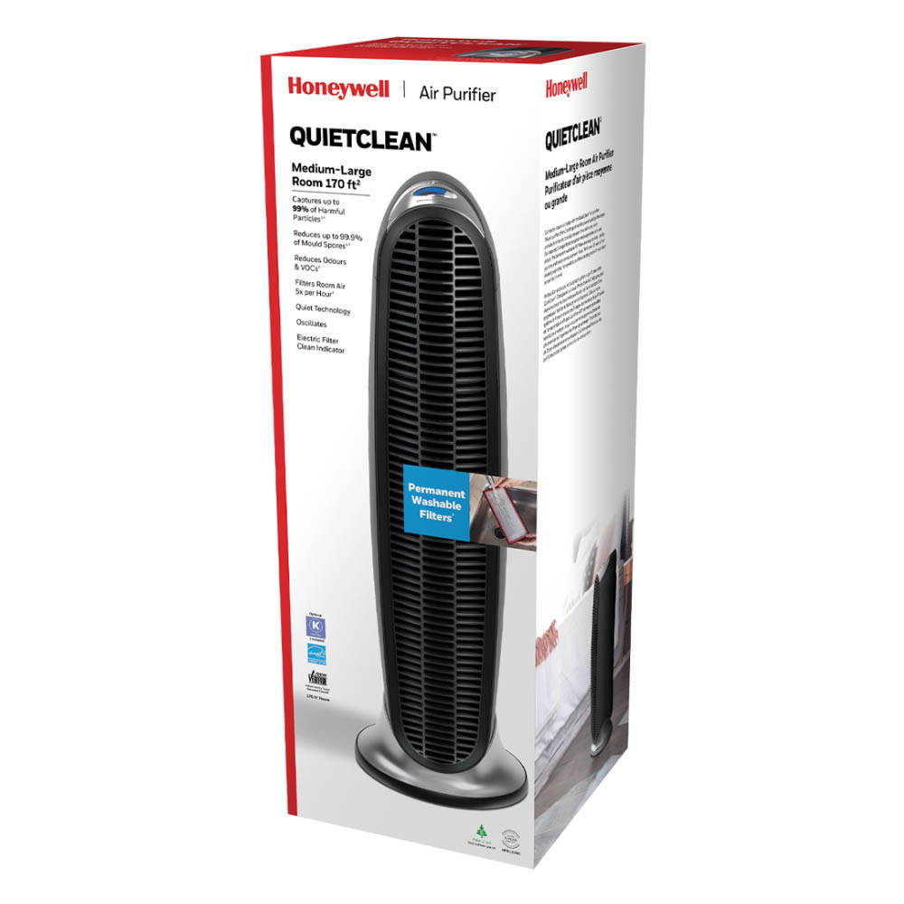 Honeywell QuietClean Tower Air Purifier with Permanent Washable Filters, HFD-120-Q