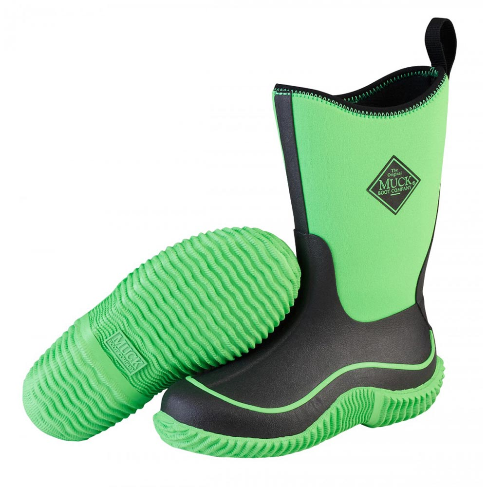 Muck Boots KBH-300 Kid's Hale Outdoor Sport Boot Neon Black/Green ...