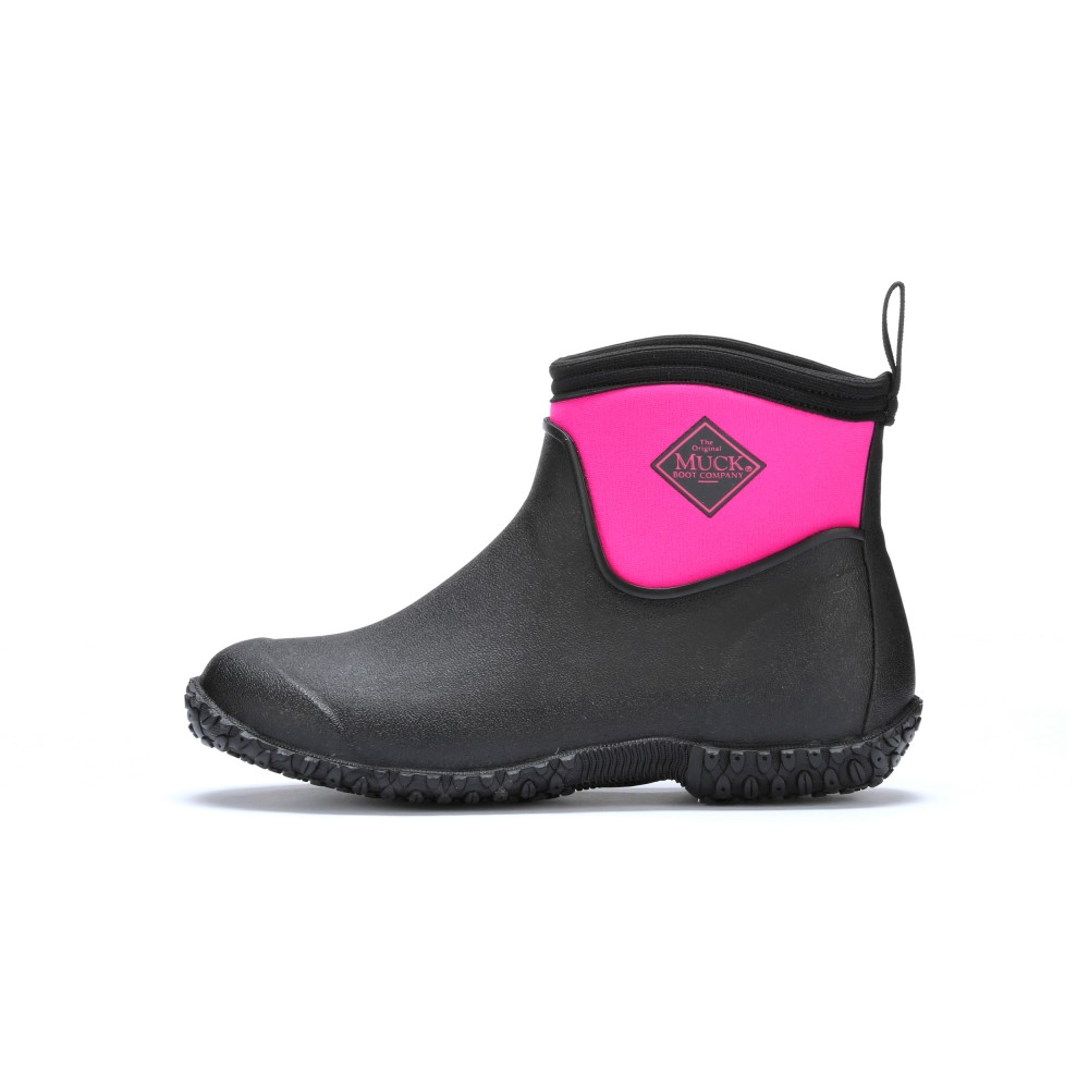 Muck Boots Muckster II Ankle High Waterproof Boot, Black/Pink, M2AW-400
