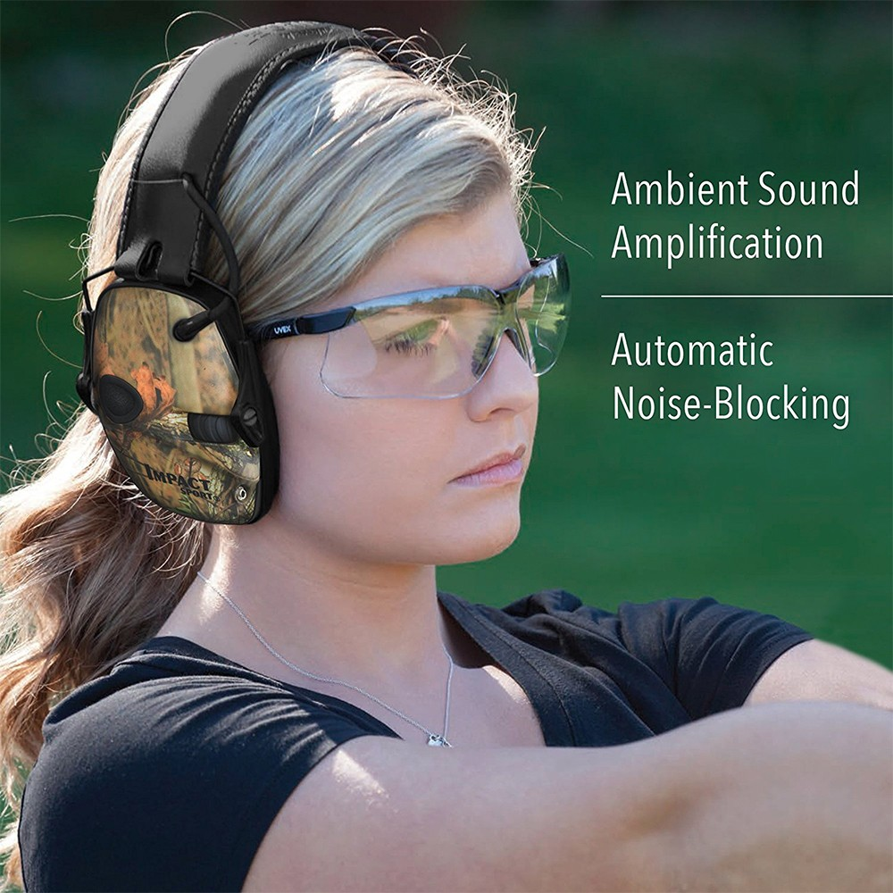 Honeywell Impact Sport Sound Amplification Electronic Earmuff, Mossy Oak Break Up/Camo - R-01530