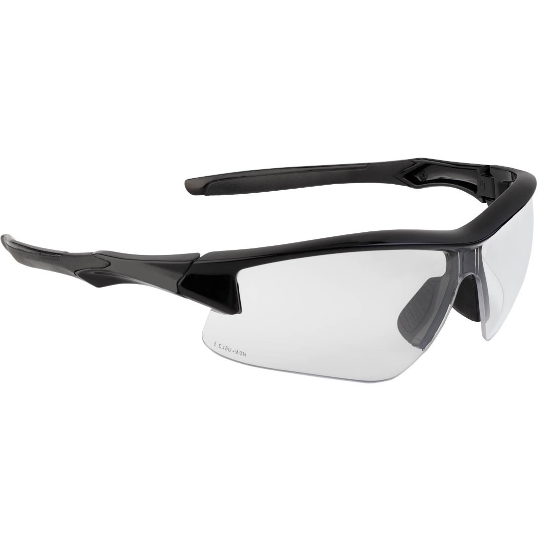 Honeywell Acadia Shooter's Safety Eyewear, Black Frame, Clear Lens with Uvextreme Plus Anti-Fog lens coating - R-02214