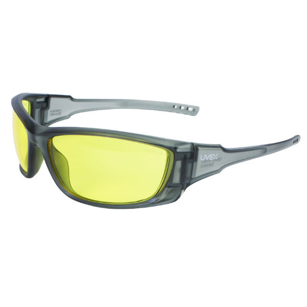 Honeywell Uvex A1500 Shooter's Safety Eyewear, Gray Frame, Amber Lens with Scratch-Resistant Hardcoat Lens Coating - R-02227