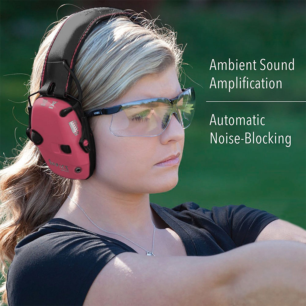 Honeywell Impact Sport Sound Amplification Electronic Earmuff, Pink - R-02523