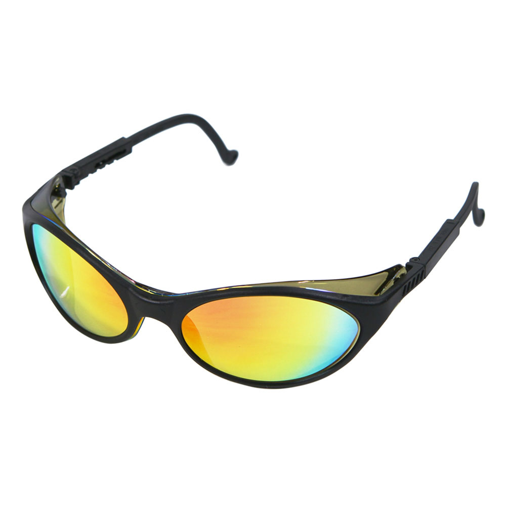 Honeywell Bandit Safety Eyewear with a Black Dual-Lens Frame, Red Mirror Lens, Anti-Fog Lens Coating - RWS-51012