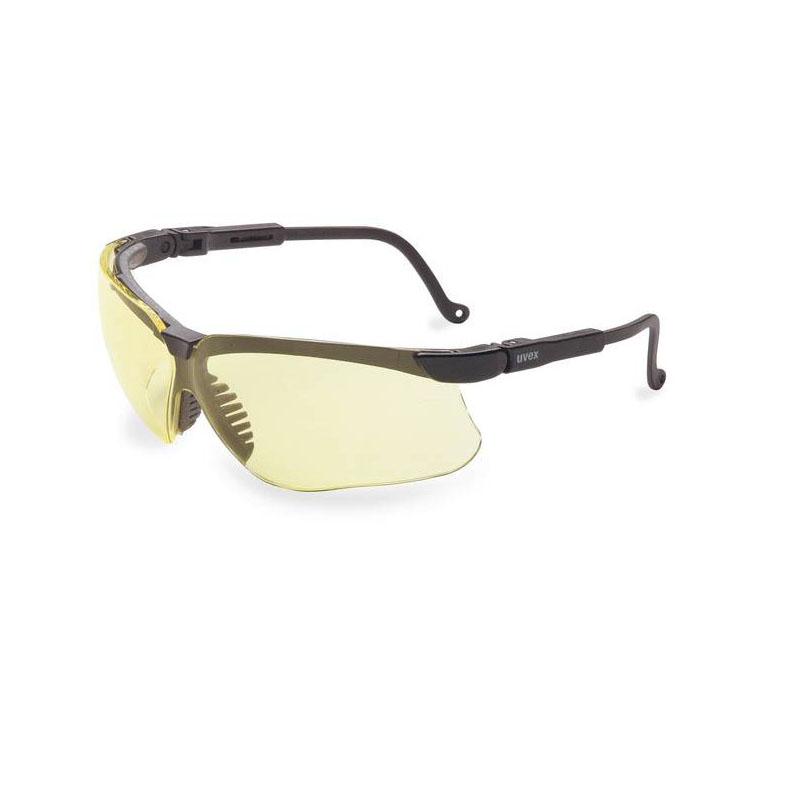 Honeywell Genesis Safety Eyewear, Black Adjustable Frame, Amber Lens, Anti-Fog Lens Coating - RWS-51025