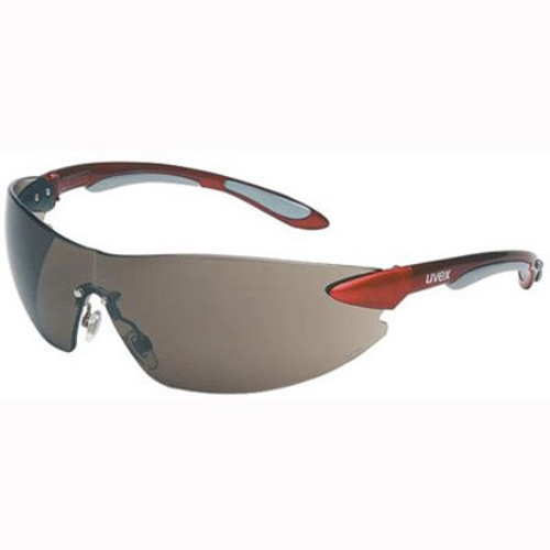 Honeywell Uvex Ignite Safety Eyewear, Frameless Design, Red and Silver Metallic Temples, Gray Lens, Anti-Fog Lens Coating - RWS-51038