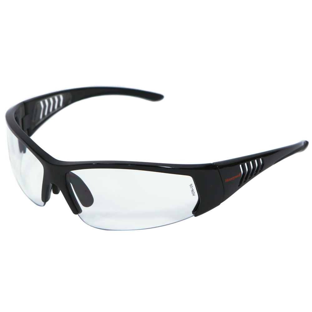 Honeywell HS100 Safety Eyewear, Gloss Black Frame, Clear Lens, Scratch-Resistant Hardcoat Lens Coating - RWS-51064