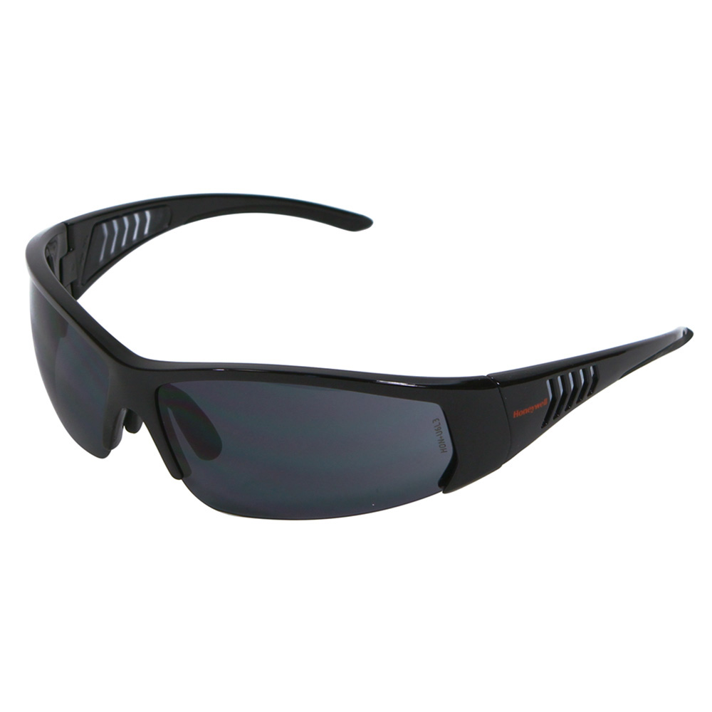 Honeywell HS100 Safety Eyewear, Gloss Black Frame, Gray Lens, Scratch-Resistant Hardcoat Lens Coating - RWS-51065