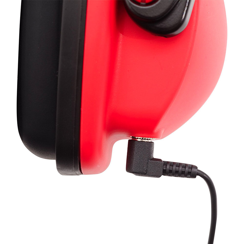 Honeywell Stereo Hearing Protector (Earmuffs) for use with MP3 Players with 3.5mm Input  (Black/Red) - RWS-53011