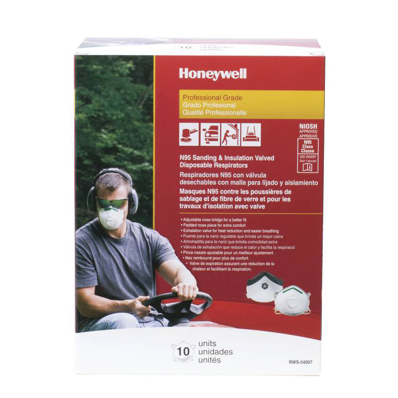 Honeywell Sperian Saf-T-Fit Plus N95 Disposable Respirator with exhalation valve, 10 per box - RWS-54007