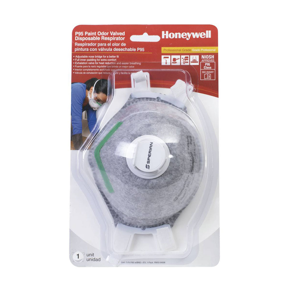 Honeywell Sperian Saf-T-Fit Plus P95 Disposable Respirator with exhalation valve, 1-pack - RWS-54008