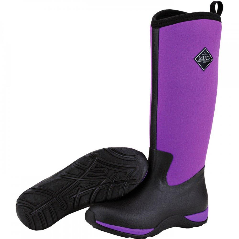 Muck Boots Women's Arctic Adventure Solids Winter Boot, Black/Purple, WAA-400